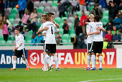 Players of Germany celebrate victory during the UEFA European Under-17 Championship Group A semifinal match between Germany and Poland on May 13, 2012 in SRC Stozice, Ljubljana, Slovenia. Germany defeated Poland 1:0. (Photo by Matic Klansek Velej / Sportida.com)