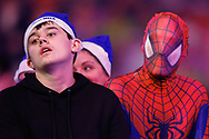 That moment you don't realise you're stood next to Spiderman... fans during the World Darts Championships 2018 at Alexandra Palace, London, United Kingdom on 29 December 2018.