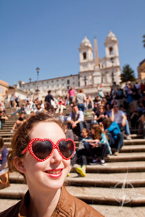 Twenty something woman at The Spanish Steps in Rome, Italy.
