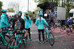 Drops Cycling Team wait for their turn to sign on for the Tour de Yorkshire - a 122.5 km road race, between Tadcaster and Harrogate on April 29, 2017, in Yorkshire, United Kingdom.