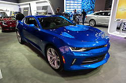 NEW YORK, USA - MARCH 23, 2016: Chevrolet Camaro on display during the New York International Auto Show at the Jacob Javits Center.