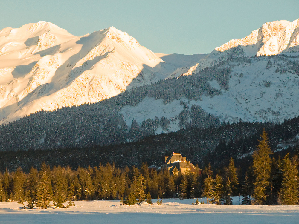 Moose meadow area of Glacier Valley withthe Hotel Alyeska in winter, Girdwood, Alaska.