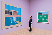 A Bigger Splash, 1967, and a Lawn Being Sprinkled, 1967 - David Hockney, a major new retrospective, at Tate Britain's. It includes more than 200 works and celebrates Hockney's achievement in painting, drawing, print, photography and video. As he approaches his 80th birthday, this exhibition offers an unprecedented overview of the artist's 60-year career. It runs from 9 Feb to 29 May 2017. London 06 Feb 2017.
