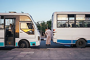 Bus drivers waiting by the Nile cornishe.