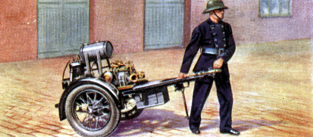 Air Raid Precautions': Set of 50 cards issued by WD & H0 Wills, Britain 1938, in preparation for the anticipated coming of World War II.  Light trailer fire pump.