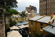 Elevated view over The Rocks area from Foundation Park. This park contains the excavated ruins of 8 houses built into the cliff face between 1874 and 1880. The Rocks, Sydney, Australia