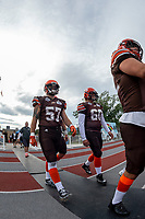 KELOWNA, BC - AUGUST 17:  Christian Horner #57 and Devin Buchwitz #60 of Okanagan Sun walk to the field against the Westshore Rebels  at the Apple Bowl on August 17, 2019 in Kelowna, Canada. (Photo by Marissa Baecker/Shoot the Breeze)