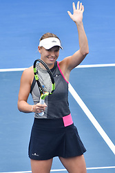 January 6, 2018 - Auckland, Auckland, New Zealand - Caroline Wozniacki of Denmark celebrates wining her Quarter-final match against Sofia Kenin of USA during the WTA Women's Tournament at ASB Centre Count in Auckland, New Zealand on Jan 6, 2018.She defeats Sofia Kenin in three set clash to advance to the Semi-final. (Credit Image: © Shirley Kwok/Pacific Press via ZUMA Wire)