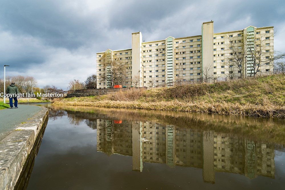 High rise apartment building beside the Union Canal in Wester Hailes, Edinburgh, Scotland, UK