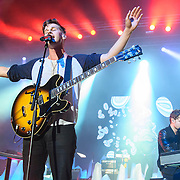 COLUMBIA, MD - May 10th, 2014 - Mark Foster (left) of Foster the People performs at the 2014 Sweetlife Festival at Merriweather Post Pavilion in Columbia, MD. The band released their sophomore album, Supermodel, in March. (Photo by Kyle Gustafson / For The Washington Post)