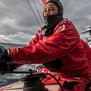 Leg 3, Cape Town to Melbourne, day 12, Tamara Echegoyen on board MAPFRE. Photo by Jen Edney/Volvo Ocean Race. 20 December, 2017.