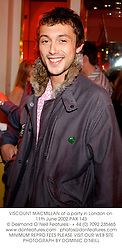 VISCOUNT MACMILLAN at a party in London on 11th June 2002.PAX 143