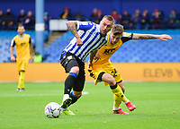 Lincoln City's Jamie Robson vies for possession with Sheffield Wednesday's Jack Hunt<br /> <br /> Photographer Andrew Vaughan/CameraSport<br /> <br /> The EFL Sky Bet League One - Sheffield Wednesday v Lincoln City - Saturday 23rd October 2021 - Hillsborough Stadium - Sheffield<br /> <br /> World Copyright © 2021 CameraSport. All rights reserved. 43 Linden Ave. Countesthorpe. Leicester. England. LE8 5PG - Tel: +44 (0) 116 277 4147 - admin@camerasport.com - www.camerasport.com