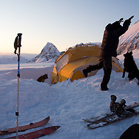 Gary Pendygrasse and friend take a little time to play during the Deeper expedition, Alaska.