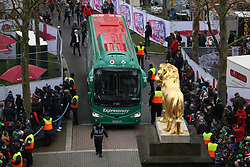 The Ireland team bus arrives before the NatWest 6 Nations match at Twickenham Stadium, London.