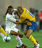 Faro 27/6/2004 Euro2004 <br />Svezia - Olanda 4-5 after penalties (0-0) <br />Edgard Davids of Netherlands and Fredrik Ljungberg of Sweden<br />Photo Andrea Staccioli Graffiti