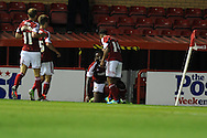 Bristol city's Jay Emmanuel-Thomas (on ground) celebrates after he scores the 1st goal.  Capital one cup match, 2nd round, Bristol city v Crystal Palace at Ashton Gate stadium in Bristol on Tuesday 27th August 2013. pic by Andrew Orchard , Andrew Orchard sports photography,