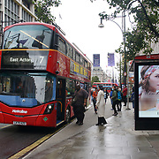Commuters taking a bus at Oxford Street on 2021-09-10, London, UK.