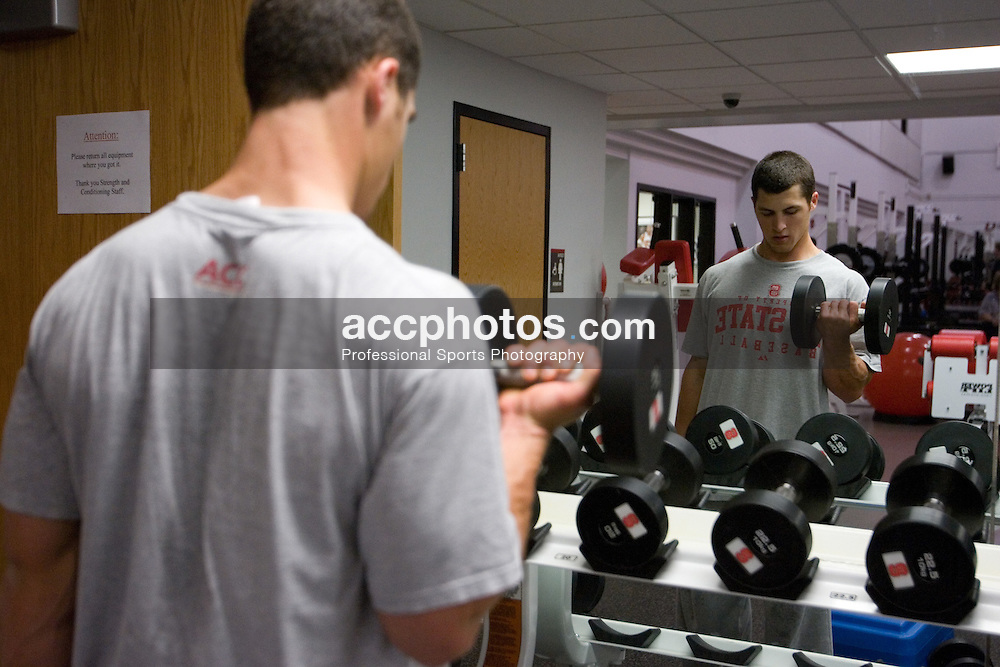 02 February 2007: North Carolina State Wolfpack second baseman Ramon Corona (3) in the weight-room after a scrimmage in the the Weisiger-Brown building in Raleigh, NC.