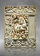 Medieval ivory relief panel from a diptych depicting a triumphant Byzantine Roman Emperor, probably Justinian. From Constantinople, 6th century. Inv. OA 9063, The Louvre Museum, Paris. .<br /> <br /> If you prefer you can also buy from our ALAMY PHOTO LIBRARY  Collection visit : https://www.alamy.com/portfolio/paul-williams-funkystock/byzantine-art-antiquities.html . Type -    louvre     - into the LOWER SEARCH WITHIN GALLERY box. Refine search by adding background colour, place, museum etc<br /> <br /> Visit our BYZANTINE MOSAIC PHOTO COLLECTION for more   photos  to download or buy as prints https://funkystock.photoshelter.com/gallery-collection/Roman-Byzantine-Art-Artefacts-Antiquities-Historic-Sites-Pictures-Images-of/C0000lW_87AclrOk