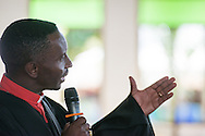 Bishop Emmanuel Makala begins the graduation of 21 pastors and seven deaconesses on Saturday, March 14, 2015, at the Evangelical Lutheran Church in Tanzania – South-East of Lake Victoria Diocese's (ELCT-SELVD) Ebenezer Cathedral in Shinyanga, Tanzania.  LCMS Communications/Erik M. Lunsford