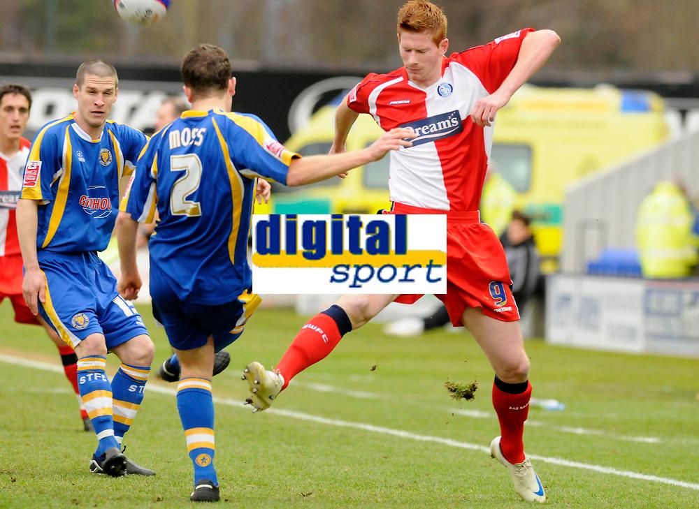 Photo: Paul Greenwood/Richard Lane Photography. Shrewbury Town v Wycombe Wanderers. Coca Cola Two. 20/12/2008. <br />Shrewsbury's Darren Moss is challenged for the ball by Matt Harrold