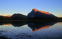 Tunnel Mountain (l) and Mount Rundle (r) at sunset from Vermilion Lakes, Banff National Park, Alberta, Canada