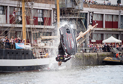 © Licensed to London News Pictures. 20/07/2019; Bristol, UK. Bristol Harbour Festival; JACK MOULE does Jetski stunts. Jack became a professional jet skier at 17 years old and has won five British Championships and a World Championship. Bristol Harbour Festival turns 48 this year and 250,000 people attend over the weekend for maritime entertainment, music and dance. Photo credit: Simon Chapman/LNP.