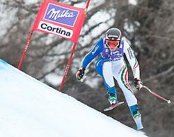 20.01.2011, Tofana, Cortina d Ampezzo, ITA, FIS World Cup Ski Alpin, Lady, Cortina, Abfahrt 2. Training, im Bild Blick von den Tribühnen im Bild Johanna Schnarf (ITA, #19) // Johanna Schnarf (ITA) during FIS Ski Worldcup ladies downhill second training at pista Tofana in Cortina d Ampezzo, Italy on 20/1/2011. EXPA Pictures © 2011, PhotoCredit: EXPA/ J. Groder