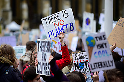 © Licensed to London News Pictures. 15/03/2019. LONDON, UK.  Students hold up signs. Thousands of students take part in a Climate Change strike in Parliament Square, marching down Whitehall to Buckingham Palace.  Similar strikes by students are taking part around the world demanding that governments take action against the effects of climate change.  Photo credit: Stephen Chung/LNP