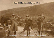 Franz Haselbeck, Daniel MacMonagle, founder of MacMonagle Photography and Killarney Printing Works and Frank Fitzgerald taking photographs with glass plates in the Gap of Dunloe in 1912.<br /> Photo taken by Louis Anthony