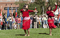 Champa and Anjana Dulal perform a traditional Nepali dance at Laconia Rotary Park during Multicultural Market Day festivities Saturday.  (Karen Bobotas/for the Laconia Daily Sun)Multicultural Market Day in Laconia.  (Karen Bobotas/for the Laconia Daily Sun)