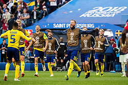 July 3, 2018 - St Petersburg, Russia - 180703 Oscar Hiljemark and Pontus Jansson celebrates with Martin Olsson after the FIFA World Cup round of 16 match between Sweden and Switzerland on July 3, 2018 in ST Petersburg..Photo: Petter Arvidson / BILDBYRN / kod PA / 87748 (Credit Image: © Petter Arvidson/Bildbyran via ZUMA Press)