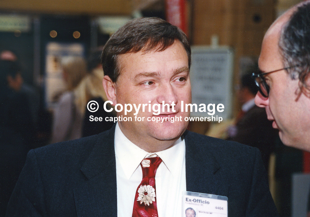 Nick Brown, MP, Labour Party, UK, 19961005NB.<br /> <br /> Copyright Image from Victor Patterson, Belfast, UK<br /> <br /> t: +44 28 9066 1296 (from Rep of Ireland 048 9066 1296)<br /> m: +44 7802 353836<br /> e: victorpattersonbelfast@gmail.com<br /> <br /> www.images4media.com<br /> <br /> Please see my full Terms and Conditions of Use at https://www.images4media.com/p/terms-conditions - it is IMPORTANT that you familiarise yourself with them.<br /> <br /> Images used online incur an additional cost. This cost should be agreed in writing in advance. Online images must be visibly watermarked i.e. © Victor Patterson or that of the named photographer within the body of the image. The original metadata must not be deleted from images used online.<br /> <br /> This image is only available for the use of the download recipient i.e. television station, newspaper, magazine, book publisher, etc, and must not be passed on to a third party. It is also downloaded on condition that each and every usage is notified within 7 days to victorpattersonbelfast@gmail.com.<br /> <br /> The right of Victor Patterson (or the named photographer) to be identified as the author is asserted in accordance with The Copyright Designs And Patents Act (1988). All moral rights are asserted.