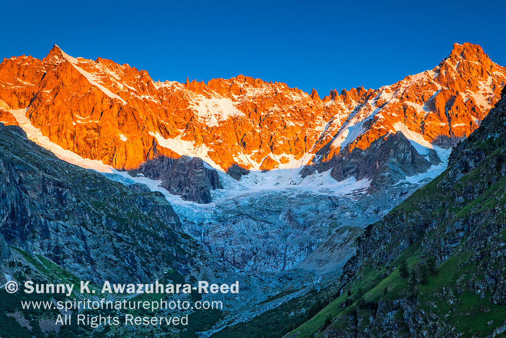 Sunrise glow on the peaks above l'A Neuve Glacier, viewed from La Fouly, Swiss Val Ferret, Alps, Switzerland, Europe, Summer.