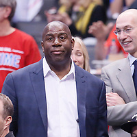 11 May 2014: Magic Johnson is seen near Adam Silver during the Los Angeles Clippers 101-99 victory over the Oklahoma City Thunder, during Game Four of the Western Conference Semifinals of the NBA Playoffs, at the Staples Center, Los Angeles, California, USA.