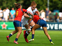 Rugby Union - 2017 Women's Rugby World Cup (WRWC) - Pool B: England vs. Spain<br /> <br /> England's Harriet Millar-Mills in action against Spain's Anne Fernandez de Corres and Iera Echebarria, at The UCD Bowl, Dublin.<br /> <br /> COLORSPORT/KEN SUTTON