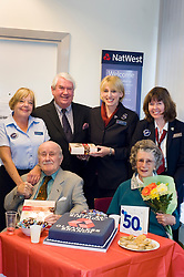 Banks oldest customer 96 year old Douglas Higgins with customers Ken Warburton and Margaret Hill join  NatWest staff Pam Bartrop,  Manager Alison Hobson and Kathy Throssell to celebrate Natwest Bank Gleadless branch 50th Birthday 15th October 2010 .Images © Paul David Drabble
