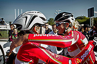 Sykkel<br /> UCI VM 2014<br /> Ponferrada Spania<br /> 26.09.2014<br /> Foto: PhotoNews/Digitalsport<br /> NORWAY ONLY<br /> <br /> Amelie Dideriksen (DEN) - Pernille Mathiesen (DEN)  pictured during  Championnats du Monde UCI CL / UCI RR World Championships (Women Juniors) - Road