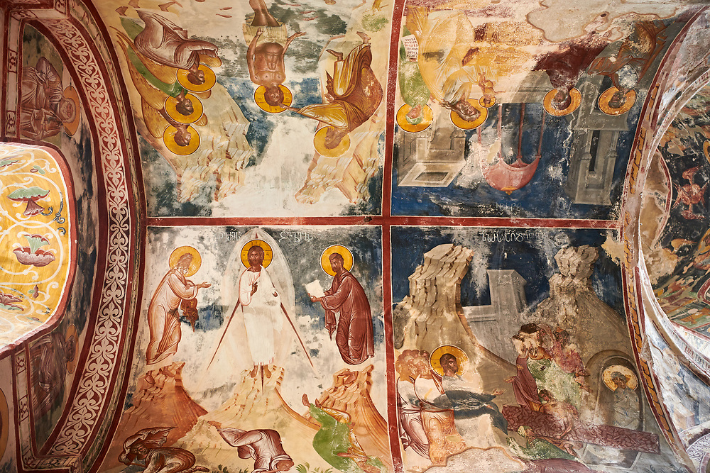 Pictures & images of the Byzantine apse fresco in the Gelati Georgian Orthodox Church St George, 13th century, depicting scenes from the life of Christ.  The medieval Gelati monastic complex near Kutaisi in the Imereti region of western Georgia (country). A UNESCO World Heritage Site. .<br /> <br /> Visit our MEDIEVAL PHOTO COLLECTIONS for more   photos  to download or buy as prints https://funkystock.photoshelter.com/gallery-collection/Medieval-Middle-Ages-Historic-Places-Arcaeological-Sites-Pictures-Images-of/C0000B5ZA54_WD0s<br /> <br /> Visit our REPUBLIC of GEORGIA HISTORIC PLACES PHOTO COLLECTIONS for more photos to browse, download or buy as wall art prints https://funkystock.photoshelter.com/gallery-collection/Pictures-Images-of-Georgia-Country-Historic-Landmark-Places-Museum-Antiquities/C0000c1oD9eVkh9c