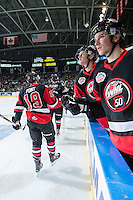 KELOWNA, CANADA - NOVEMBER 9: Haydn Fleury #4 and Brayden Point #19 of Team WHL celebrate a goal against the Team Russia on November 9, 2015 during game 1 of the Canada Russia Super Series at Prospera Place in Kelowna, British Columbia, Canada.  (Photo by Marissa Baecker/Western Hockey League)  *** Local Caption *** Brayden Point; Haydn Fleury;