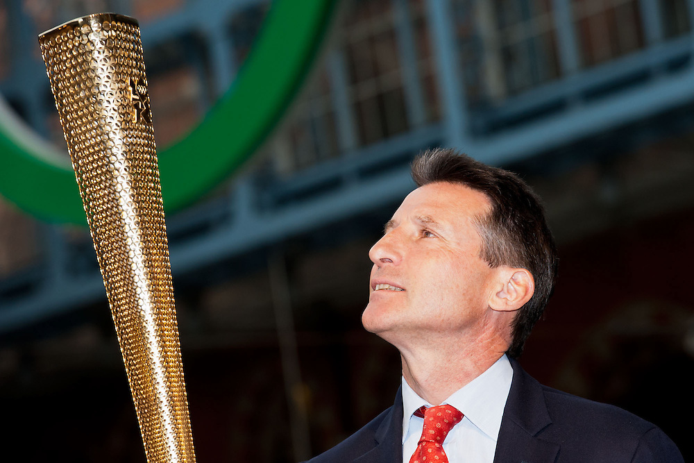 A first look at the prototype Torch design for the London 2012 Olympic Torch Relay at St Pancras International Station, London. The Torch will enable 8,000 Torchbearers to carry the Olympic Flame around the UK during the 70-day Relay starting at Land's End on 19 May next year. Lord Sebastian Coe (pictured) is joined by former Torchbearer and LOCOG Board Member Jonathan Edwards, former Torchbearer Denise Lewis, Austin Playfoot a Torchbearer from the 1948 Olympic Torch Relay and Torch designers Edward Barber and Jay Osgerby were present. © Guy Bell Photography, GBPhotos