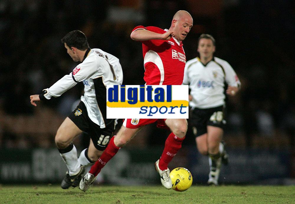 Photo: Paul Thomas.<br /> Port Vale v Bristol City. Coca Cola League 1. 17/12/2005.<br /> <br /> Bristol goal scorer Steve Brooker makes a break down field.
