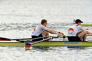 Bled, SLOVENIA,  GER M2- Bow. Kristof WILKE and Richard SMHMIDT, during their semi final of the 1st FISA World Cup. Second day. Rowing Course. Lake Bled.  Saturday  29/05/2010  [Mandatory Credit Peter Spurrier/ Intersport Images]