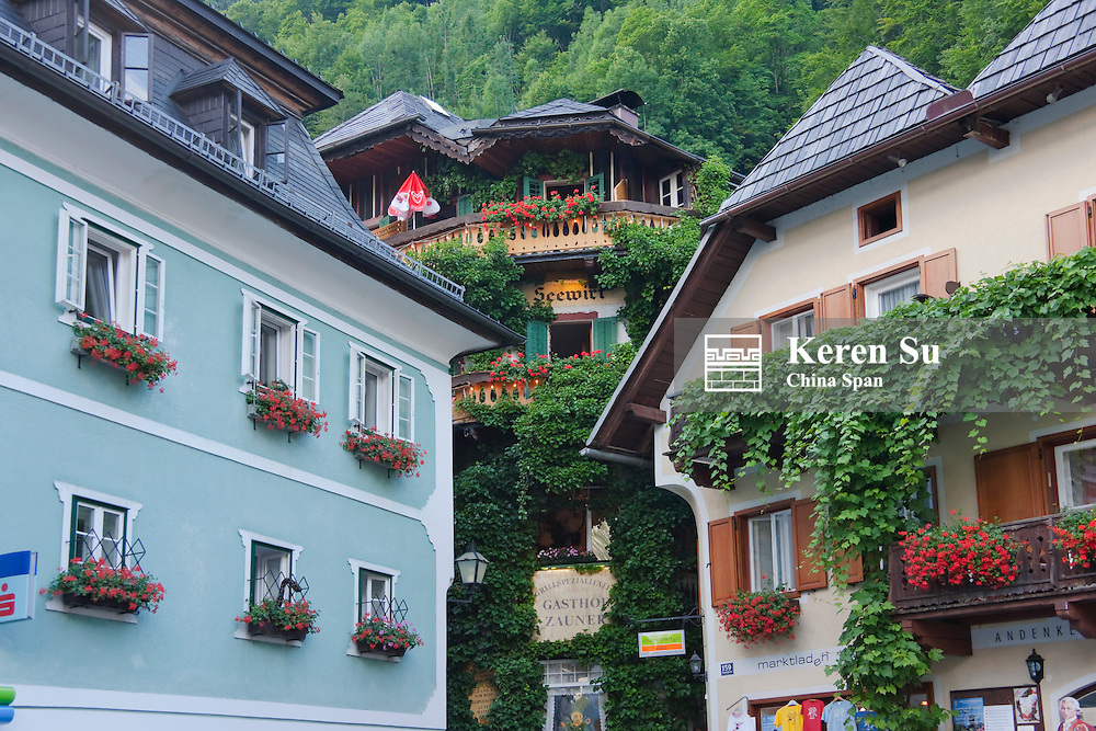 Houses on the shores of Hallstatter Lake, Hallstatt, Austria