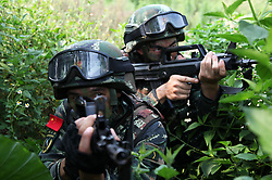 July 31, 2017 - Nanning, Nanning, China - Nanning, CHINA-July 31 2017: (EDITORIAL USE ONLY. CHINA OUT)..Soldiers attend military maneuver in Nanning, southwest China's Guangxi, marking the upcoming Army Day. (Credit Image: © SIPA Asia via ZUMA Wire)