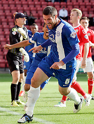 Peterborough United's Michael Bostwick celebrates scoring the equalising goal  - Photo mandatory by-line: Joe Dent/JMP - Tel: Mobile: 07966 386802 07/09/2013 - SPORT - FOOTBALL -  Alexandra Stadium - Crewe - Crewe Alexandra V Peterborough United - Sky Bet League Two