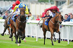 Mur Hiba and Kevin Manning (left) win the K Club European Breeders Fund Maiden at Curragh Racecourse, Co. Kildare, Ireland.