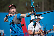 Karyna Kozlovskaya for team Belarus during the women's archery recurve team, gold medal match, at the Olympic Sports Complex on the 22nd June 2019 in Minsk in Belarus.