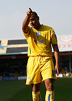 Photo: Mike Greenslade..Cardiff City v Sheffield Wednesday..Coca Cola Championship League..07.04.07..Ninian Park..KO 3pm... Owls striker Leon Clarke celebrates putting the owls 1-0 infront